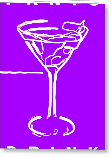 Booze Greeting Cards - Do Not Panic - Drink Martini - Purple Greeting Card by Wingsdomain Art and Photography