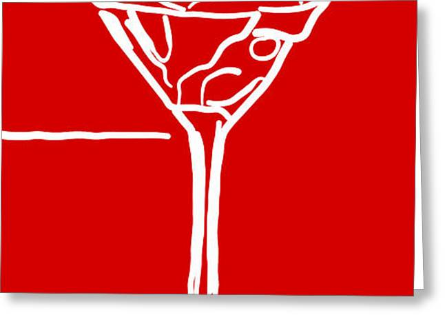 Do Not Panic - Drink Martini - Red Greeting Card by Wingsdomain Art and Photography
