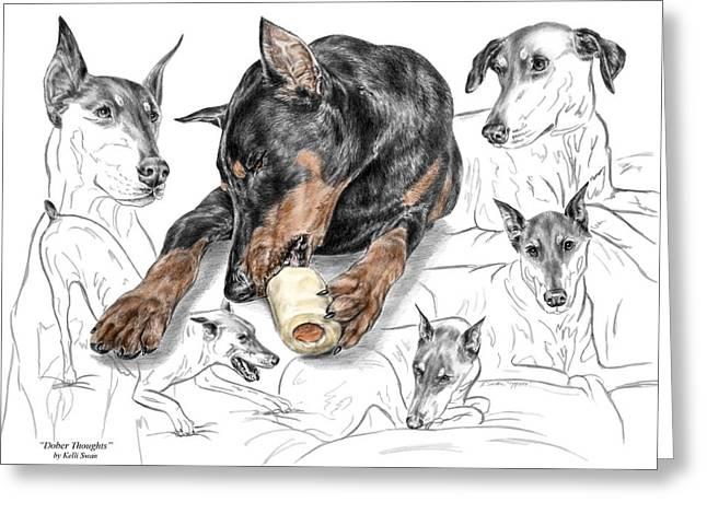 Guard Dog Drawings Greeting Cards - Dober-Thoughts - Doberman Pinscher Montage Print color tinted Greeting Card by Kelli Swan