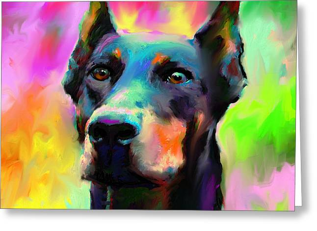 Whimsical Dog Art Greeting Cards - Doberman Pincher Dog portrait Greeting Card by Svetlana Novikova