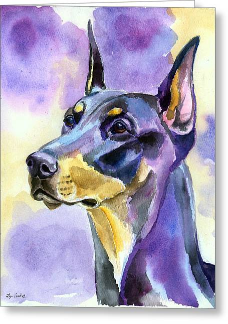 Dobie Mood Indigo Greeting Card by Lyn Cook