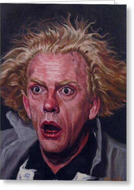Terrorist Paintings Greeting Cards - Doc Brown Christopher Lloyd  Greeting Card by Thomas Hoyle