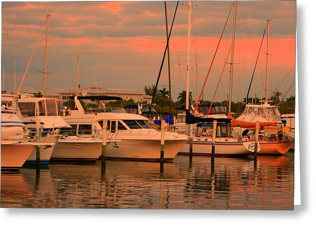 Boats At Dock Mixed Media Greeting Cards - Dock At Sunset2 Greeting Card by John D  Breen