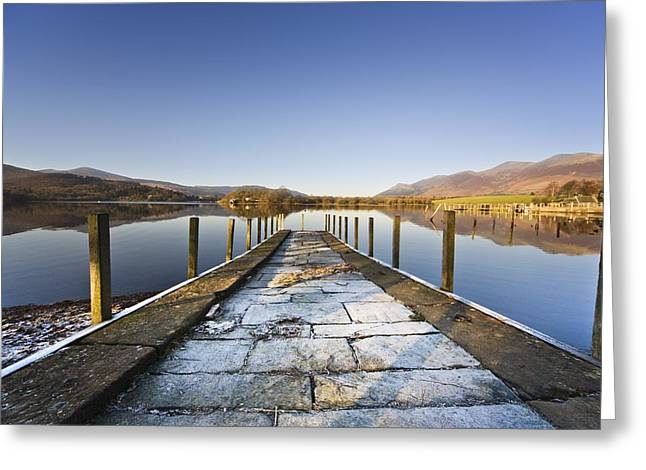 Design Pics - Greeting Cards - Dock In A Lake, Cumbria, England Greeting Card by John Short