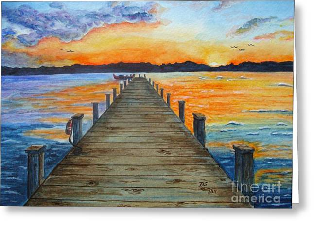Dock Of The Bay Greeting Card by Bonnie Schallermeir