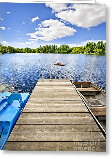 Wooden Platform Greeting Cards - Dock on lake in summer cottage country Greeting Card by Elena Elisseeva