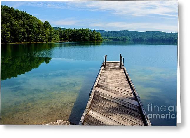 Man-made Lake Greeting Cards - Dock on Summersville Lake Greeting Card by Thomas R Fletcher