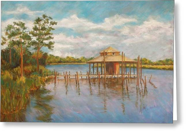 Docked Boat Pastels Greeting Cards - Dock on the Bon Secour Greeting Card by Ann Caudle