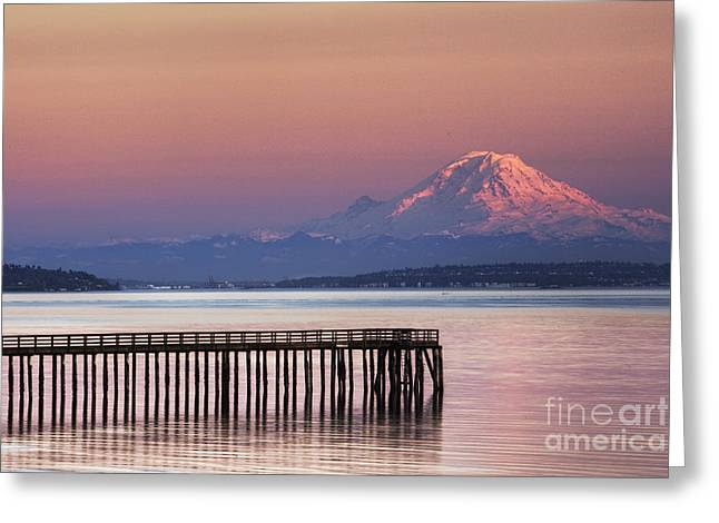 Dock, Pier And Mountain Greeting Card by Ned Frisk