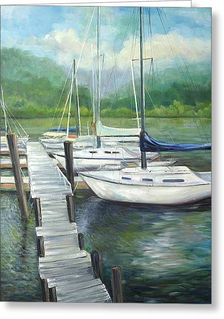 Boats At Dock Greeting Cards - Dock Side Greeting Card by Max Mckenzie