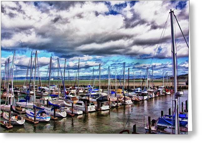 Sailboats Docked Digital Art Greeting Cards - Docked in Sausilito Greeting Card by Patricia Stalter