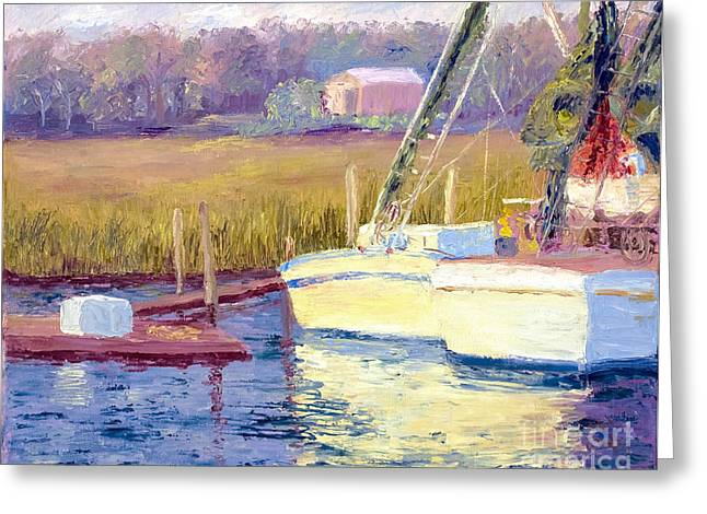 Tidal Creek Scene Greeting Cards - Docked Greeting Card by Patricia Huff