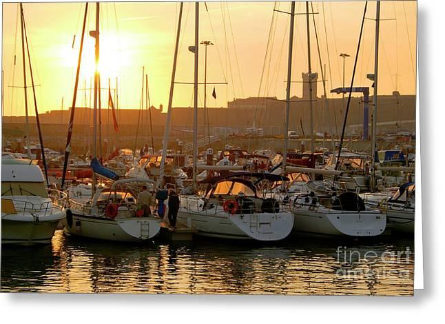 Docked Yachts Greeting Card by Carlos Caetano