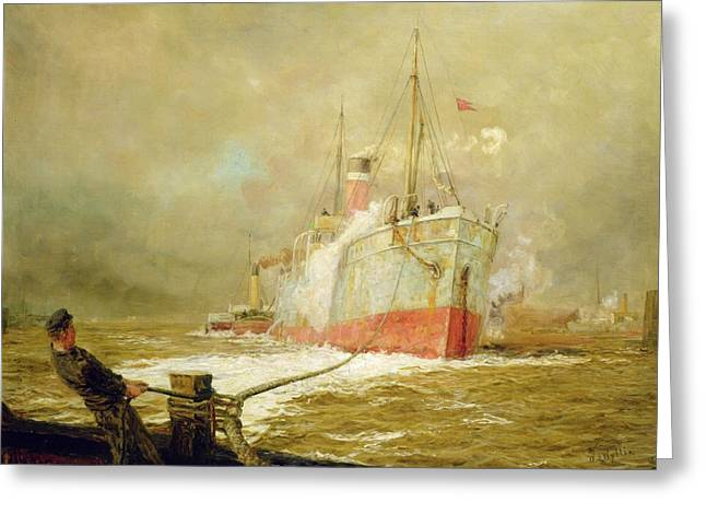 Bollard Greeting Cards - Docking a Cargo Ship Greeting Card by William Lionel Wyllie