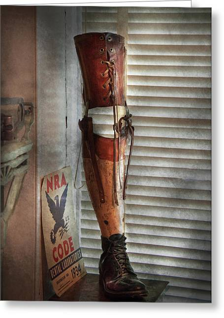 Prosthetic Greeting Cards - Doctor - A leg up in the competition Greeting Card by Mike Savad