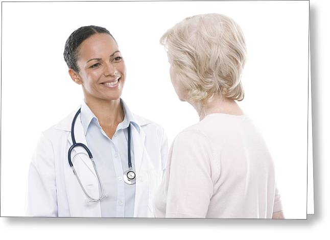 Senior Women Greeting Cards - Doctor And Senior Woman Greeting Card by