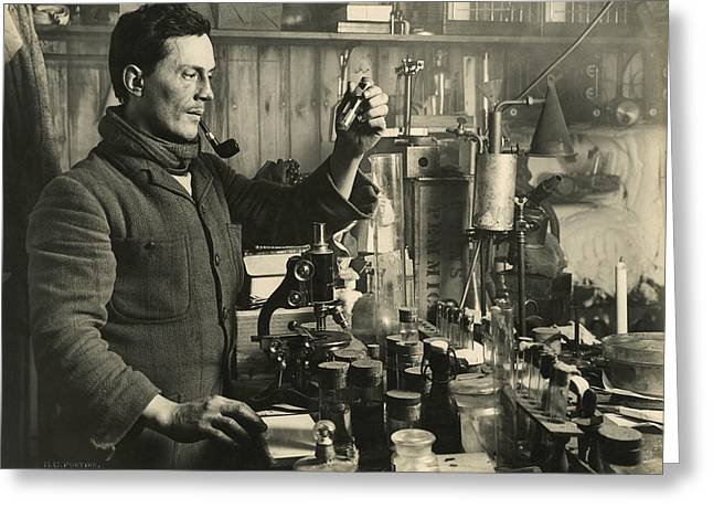 Smoking Book Greeting Cards - Doctor Edward Atkinson In His Lab Greeting Card by Herbert G. Ponting
