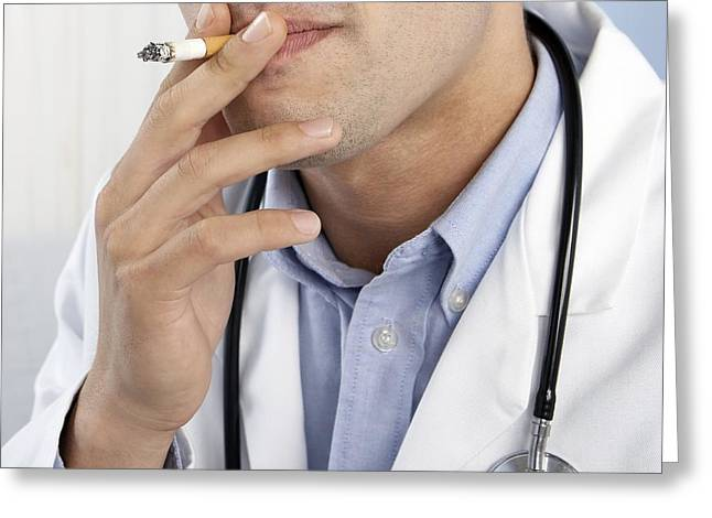 Carcinogenic Greeting Cards - Doctor Smoking Greeting Card by Adam Gault