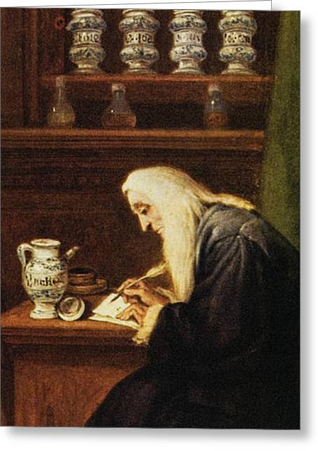 Historical Images Greeting Cards - Doctor Writing Prescription Greeting Card by Mehau Kulyk