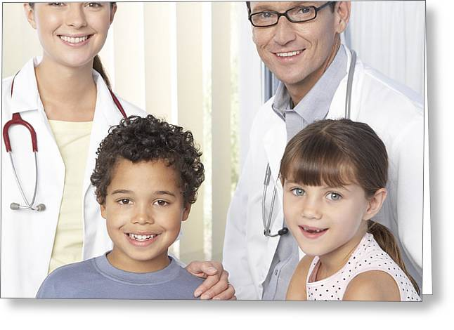 Quartet Greeting Cards - Doctors And Children Greeting Card by Adam Gault