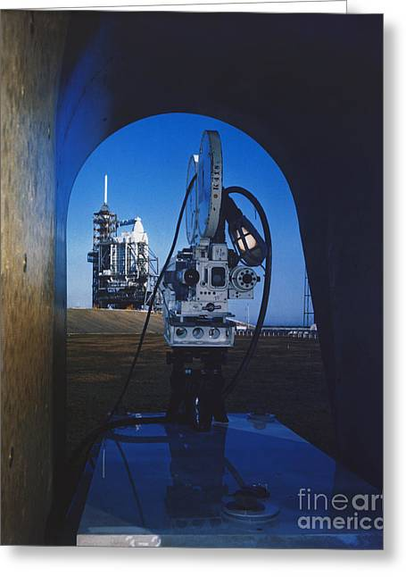 Remote Cameras Greeting Cards - Documenting Shuttle Launch Greeting Card by Science Source
