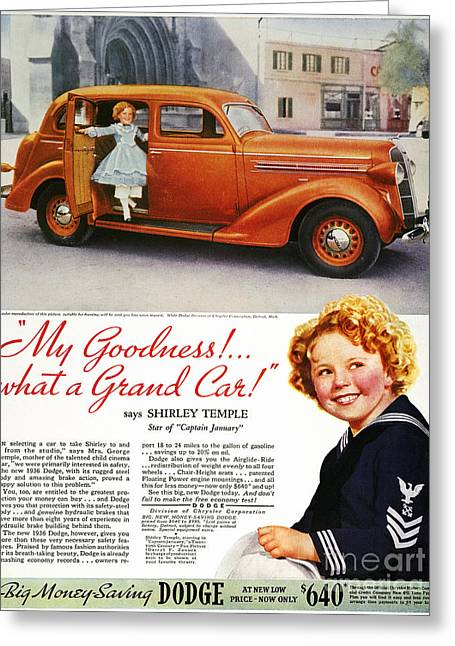 Endorsement Greeting Cards - Dodge Automobile Ad, 1936 Greeting Card by Granger