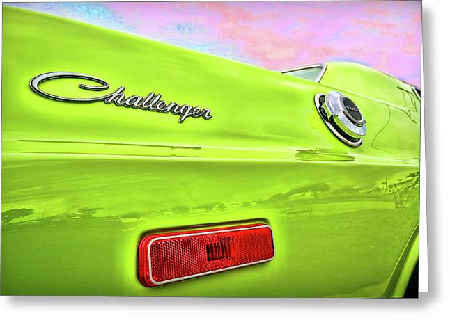 Turn Digital Art Greeting Cards - Dodge Challenger in Sublime Green Greeting Card by Gordon Dean II