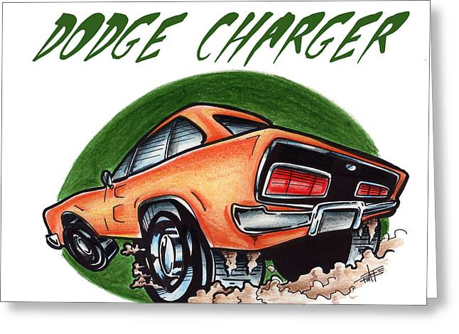 Iroatethis Drawings Greeting Cards - Dodge Charger Too Greeting Card by Big Mike Roate