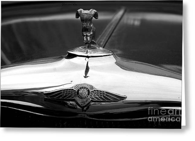 1934 Dodge Greeting Cards - Dodge hood ornament and emblem  Greeting Card by Yumi Johnson