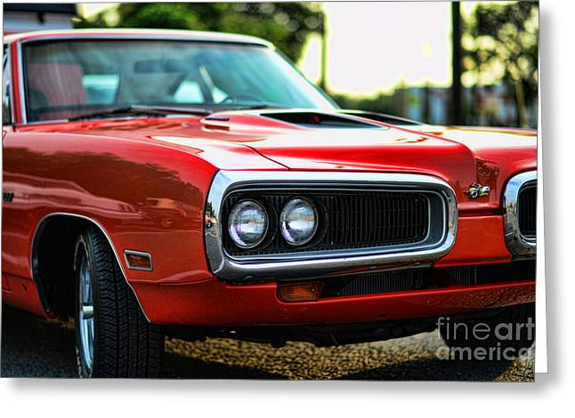 Spoiler Greeting Cards - Dodge Super Bee classic red Greeting Card by Paul Ward
