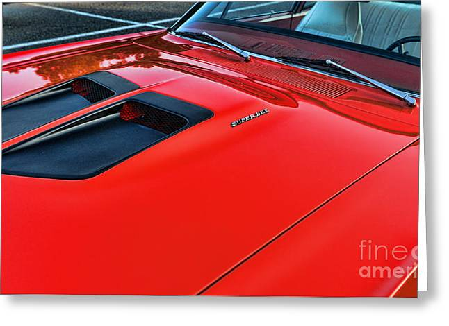 Spoiler Greeting Cards - Dodge Super Bee Hood  in Red Greeting Card by Paul Ward
