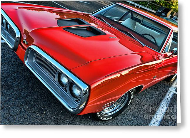 Spoiler Greeting Cards - Dodge Super Bee in Red Greeting Card by Paul Ward