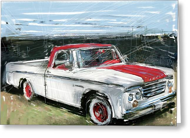 Collectible Mixed Media Greeting Cards - Dodge Truck Greeting Card by Russell Pierce