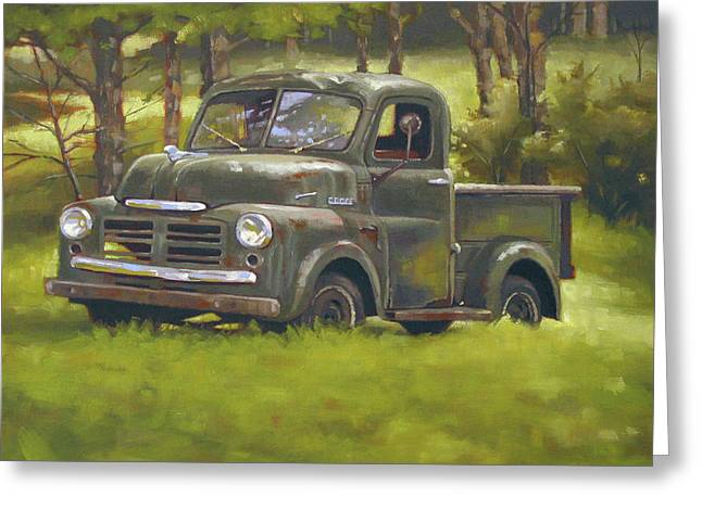 Junk Paintings Greeting Cards - Dodge Truck Greeting Card by Todd Baxter