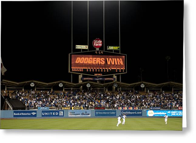 Dug Out Greeting Cards - Dodgers Win Greeting Card by Malania Hammer