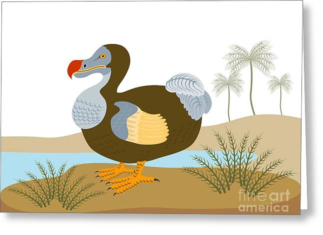 Dodo Greeting Cards - Dodo Bird Raphus Cucullatus Retro Greeting Card by Aloysius Patrimonio
