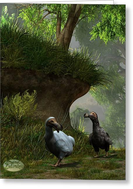Dodo Bird Greeting Cards - Dodos in the Forest Greeting Card by Daniel Eskridge