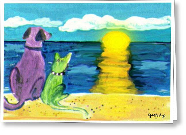 Sea Dog Framed Prints Greeting Cards - Dog and Cat Sunset Greeting Card by Paintings by Gretzky