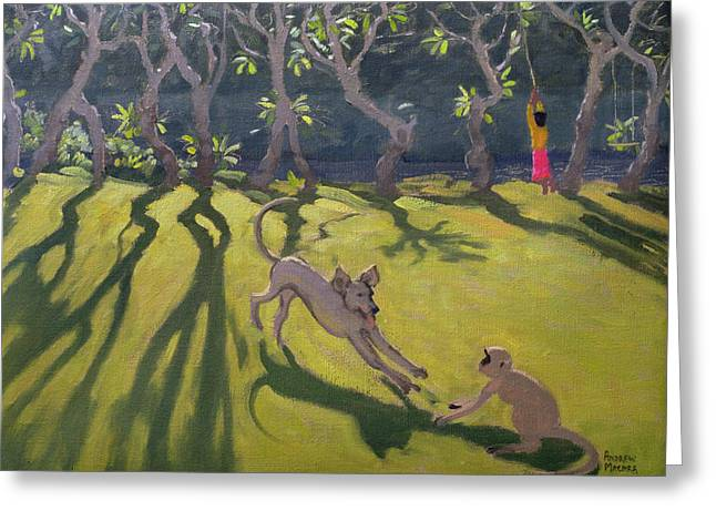 Sri Lanka Greeting Cards - Dog and Monkey Greeting Card by Andrew Macara