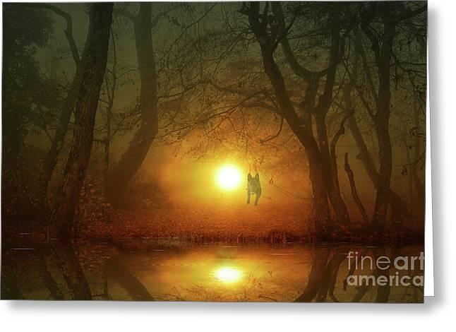 Dog In Lake Greeting Cards - Dog At Sunset Greeting Card by Bruno Santoro