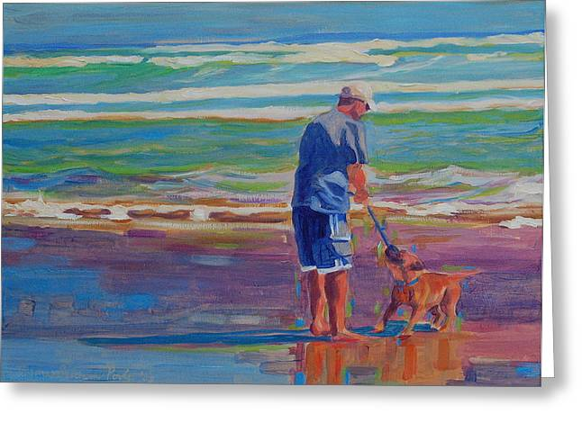 Blue And Purple Sea Greeting Cards - Dog Beach Play Greeting Card by Thomas Bertram POOLE