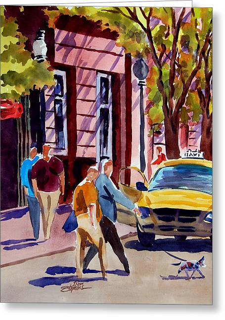 Dog Crossing Greeting Card by Ron Stephens