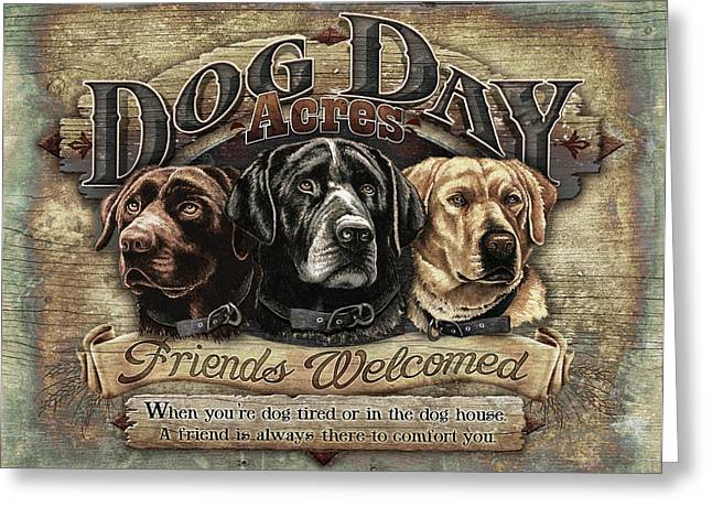 Chocolate Lab Greeting Cards - Dog Day Acres Sign Greeting Card by JQ Licensing