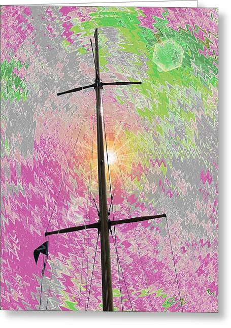Yellow Sailboats Digital Art Greeting Cards - Dog Days Greeting Card by Tim Allen