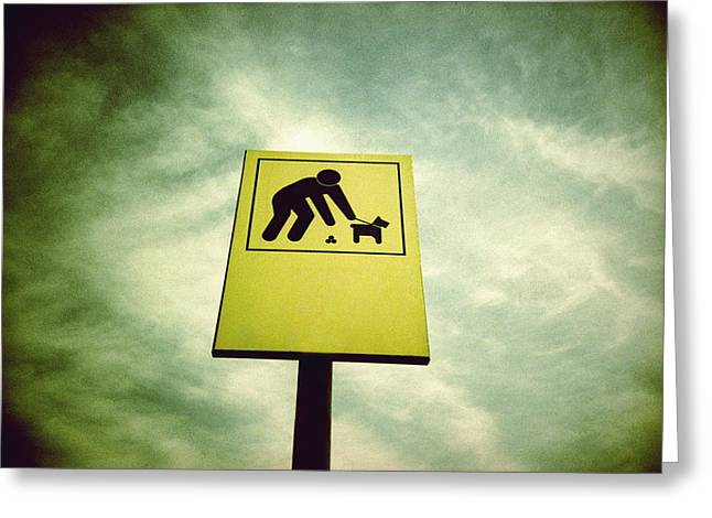 Dog Fouling Sign Greeting Card by Kevin Curtis