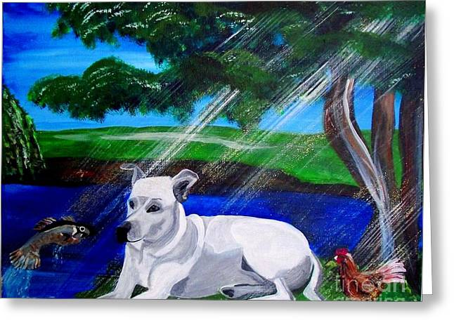 Dog In Lake Greeting Cards - Dog in Heaven Greeting Card by Jayne Kerr