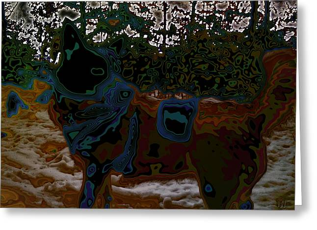 Alienate Greeting Cards - dog in snow - not by Hundertwasser II Greeting Card by Nafets Nuarb