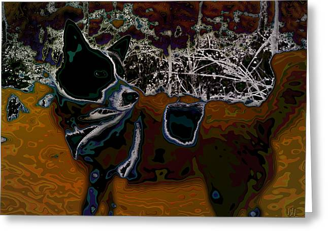Dog In Snow - Not By Hundertwasser I Greeting Card by Nafets Nuarb