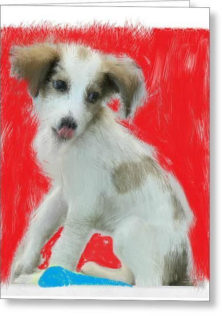 Puppies Drawings Greeting Cards - Dog Greeting Card by Mahaashrivarshan M