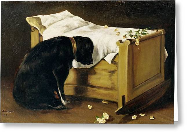 Grief Greeting Cards - Dog Mourning Its Little Master Greeting Card by A Archer